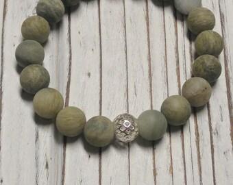 Rutilated Quartz with Spacer Bead Beaded Bracelet, Frosted, Stretch Bracelet, Stackable, 10 mm, Mens Natural Stone Bracelet