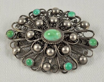 Silver turquoise pin, cannetille pin