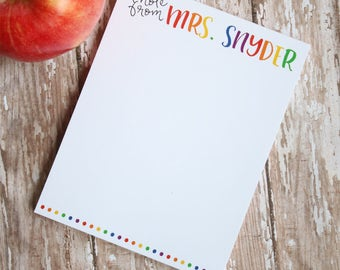 Gifts for Teachers - Personalized Teacher Notepad - Teacher Gift - End of Year Teacher Gift - Style: Rainbow Letters