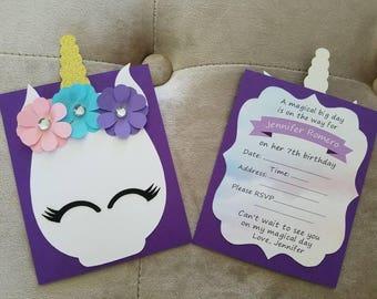 set of 12 Unicorn birthday invites