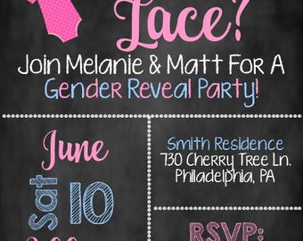 Lures or Lace Invite, Gender Reveal Party Invite