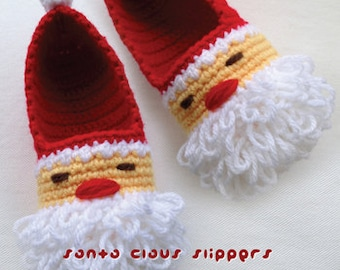 Santa Claus Children Slippers Crochet PATTERN for Christmas Winter Holiday - Size 10 11 12 13 1 2 3 4 - Chart & Written Pattern