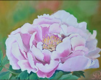 pink peony oil painting , home decor , nature wall art