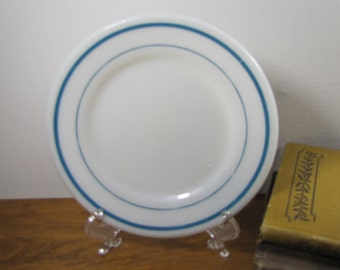 Vintage Milk Glass Small Plate  - Teal Stripes