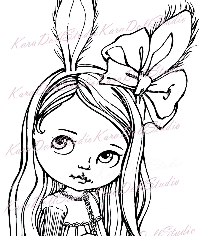 Lindo conejito Valentín Digi sellos, Blythe muñeca de colorear ...