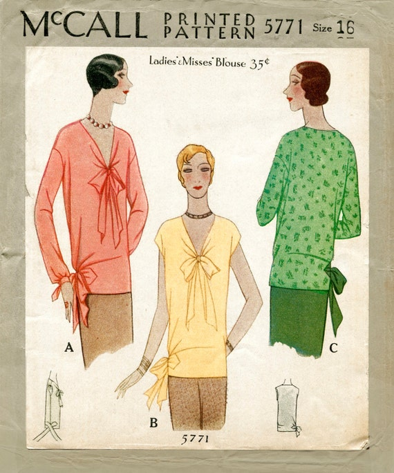1920s 20s vintage sewing pattern flapper blouse tie collar bow