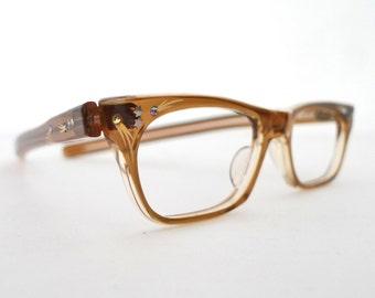 SMALL French Cat Eye Glasses Frame Rhinestone Embellished Khaki NOS Eyeglasses Sunglasses France Gilded MCM Catseyes Rockabilly Vixen Cats