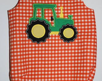 Infant Tractor Bubble, Infant Tractor Romper, Infant Outfit, Tractor Outfit