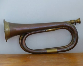 Bugle vintage old instrument decor copper brass vintage old brass instrument midcentury french