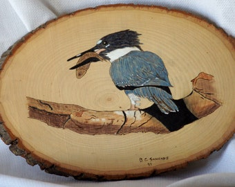 Belted Kingfisher Wooden Plaque