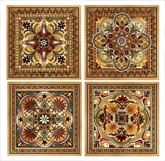Ceramic Bathroom Tiles Handmade In Italy: Italian Renaissance Design Custom Backsplash Ceramic Tile Set