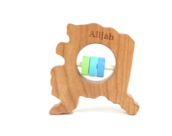 Alaska State Rattle™ Wood Rattle Baby Rattle Wooden Rattle Baby Shower Gift Alaska Gift Wooden Toy Baby Toy Baby Gift Wood Teether Wood Toy