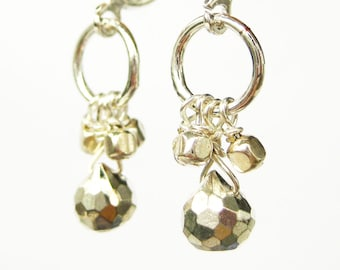 Metallic Clip-on Earrings, Small Dangle Clipons, Silver Ear Clips, Pale Gold Pyrite Faceted Teardrops, Handmade, Belly Dancer