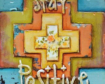 ART PRINT Positivity cross Christian inspirational the secret get well gift, new job, encouragement, health, joy, blessing, All Sizes