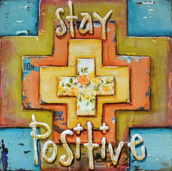 ART PRINT Positivity cross Christian inspirational the secret get well gift, new job, encouragement, health, joy, blessing, All Sizes