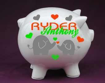 Elephant Love Personalized Piggy Bank with Vinyl - Great Custom Piggy Bank gift for baby showers,new baby gifts,baby baptisms.
