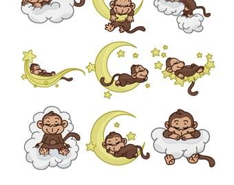 Sleeping Monkeys in the Sky Embroidery Design Zip File Download