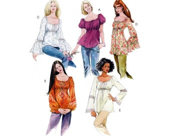 Women's BOHO Style, Empire Waist Tops and Tunics Pattern, Misses Size 4-6-8-10-12-14, UNCUT OOP McCall's 5050