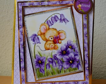 "Greeting card handmade ""For a Special Friend"", Birthday card, thank you, thinking of you, cute mouse card"