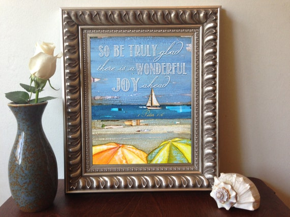 ART PRINT, 1 Peter 1:6 ,Get Well Soon print, Christian print, beach art, Christian art, Scripture, wall decor, sailboat, All Sizes