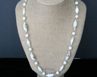 White Glass bead linked necklace