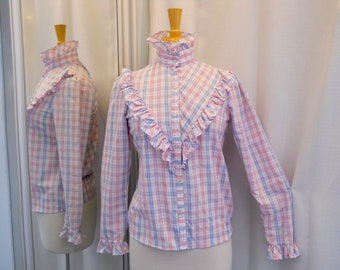 Vintage 1970s 70s Pink and Blue Prairie Blouse with Ruffles Button Front Plaid Blouse Plaid Shirt 70s Fashion Country Western Style Size S