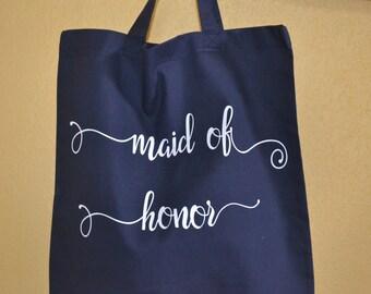 Maid of Honor Tote Bag, Bridesmaid Bag, Maid of Honor Gift,  Wedding Party Gift, Bridal Party Gift, Bridesmaid gift, Nautical Wedding