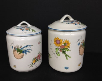 1990s Two White Ceramic Kitchen Canisters w/ Fruit & Flowers storage cookie jar kitchen decor gifts for foodies gift for her flour sugar