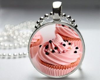 Sweet Treat Cupcake Sprinkles Round Pendant Necklace with Silver Ball or Snake Chain Necklace or Key Ring