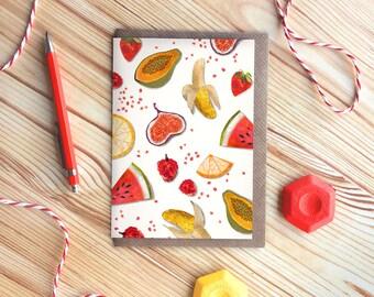 Fruit Greetings Card, Tutti Frutti, Birthday Card, Patterned Card