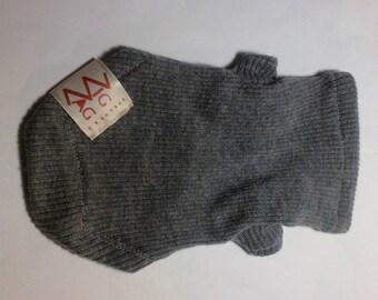 Dog Sweater - Grey Ribbed Cashmere Tiny