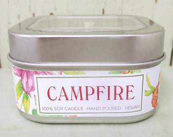 Campfire Soy Candle 8 oz. - Green Daffodil- Handpoured - Anne and Siouxsan -C8
