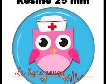 Round cabochon resin 25 mm - OWL stick (2252) - nurse, doctor, medical