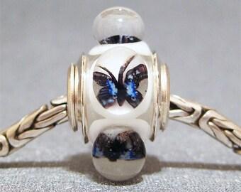 Butterfly Bead Handmade Lampwork Euro Charm Limited Edition Sapphire Butterflies