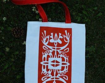Bags for women Author's bag White red bag Original bag Bag with birds