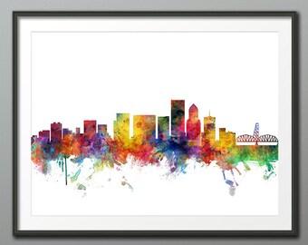 Portland Skyline, Portland Oregon Cityscape Art Print Poster (3958)