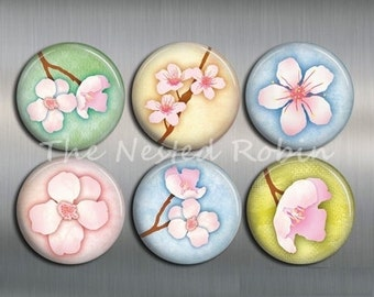 CHERRY BLOSSOM MAGNETS with gift pouch - Set of 6