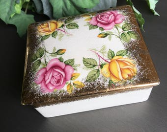 Trinket Box Sandland Ware Golden Rose Yellow & Pink Staffordshire England Square Vintage Jewelry Holder Gold Gilt