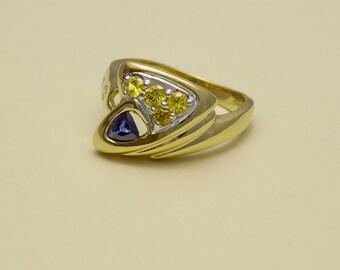14k Yellow Gold with Ceylon Origin, Blue Sapphire, wt.66 ct's. - (4) 14K White Gold Bead Set Bright Yellow Sapphire, wt.33 ct's. - (2) Dia.