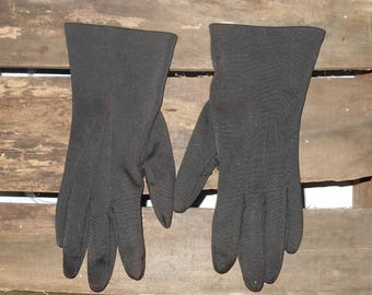 Vintage gloves 1960s black gloves Size 7.5 -8