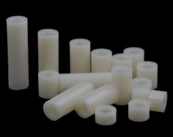 20/50/100 Pcs M3 M4 M5 M6 M8 White Plastic Nylon Round Non-Threaded Standoff Spacer Washer Screw Bolt