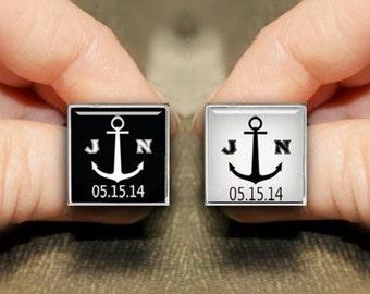 Custom Initial Cufflinks, Initial Cufflinks, Custom Wedding Cuff Links, Sea Anchor Cufflinks, Personalized Cufflinks, Monogram Cufflinks