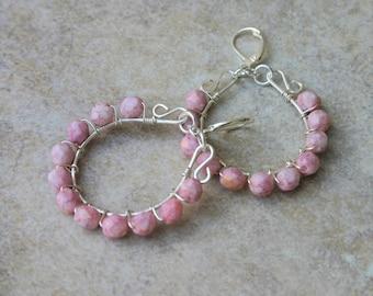 Pink Glass and Silver Hoop Earrings, Pink Czech Glass Earrings