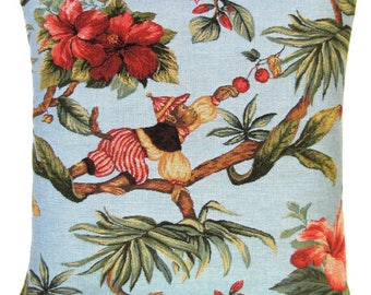 Monkey Pillow Cover - 18x18 Belgian Tapestry Pillow Cover - Picking Berries - PC-5483