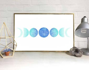 Moon Phase Watercolor Print (Turquoise)