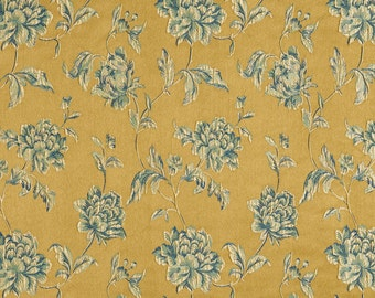 Gold, Blue and Teal Large Scale Flowers and Leaves Damask Brocade Upholstery Fabric By The Yard | Pattern # B0720A