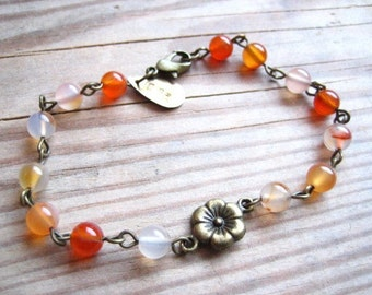 Lauren Vintage Bloom Bracelet in Fire Agate and Brass