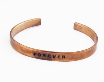 Bronze Anniversary Bracelet, Bronze Cuffs, Personalized Cuff, 8 Year Anniversary, Bronze Bracelet, 8th Anniversary Gift, Forever Bracelet