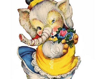 Animals 2 a Sweet Elephant with a Bouquet a Digital Image from Vintage Greeting Cards - Instant Download