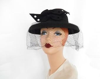 Vintage black hat, 1930s 1940s woman's tilt, veil